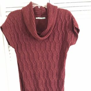 Large short sleeve cowl neck sweater dress